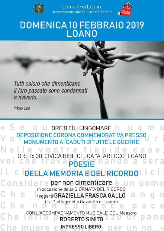 Celebrazioni Giorno della Memoria e Giorno del Ricordo Loano 2019