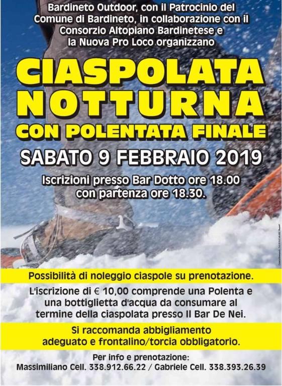 Ciaspolata Notturna e Polentata Bardineto febbraio 2019