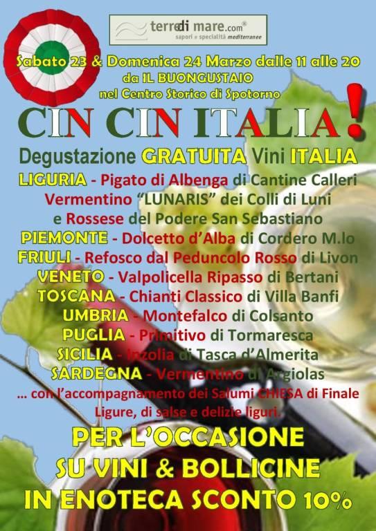 """""""Cin Cin Italia!"""" degustazione vini italiani Spotorno"""
