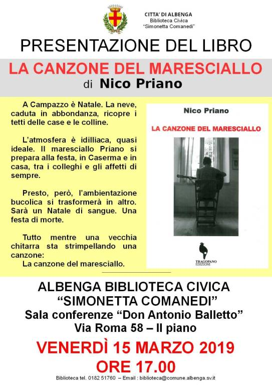 """""""La canzone del maresciallo"""" libro Nico Priano Albenga"""