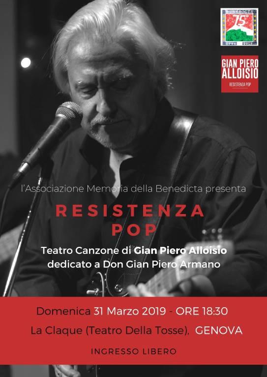 """Resistenza Pop"" concerto Gian Piero Alloisio La Claque Genova"
