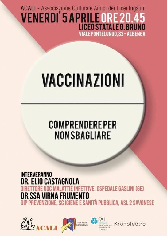 """""""Vaccinazioni: comprendere per non sbagliare"""" conferenza Albenga"""
