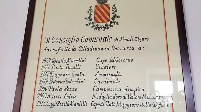 Finale Cittadinanza Onoraria Mussolini