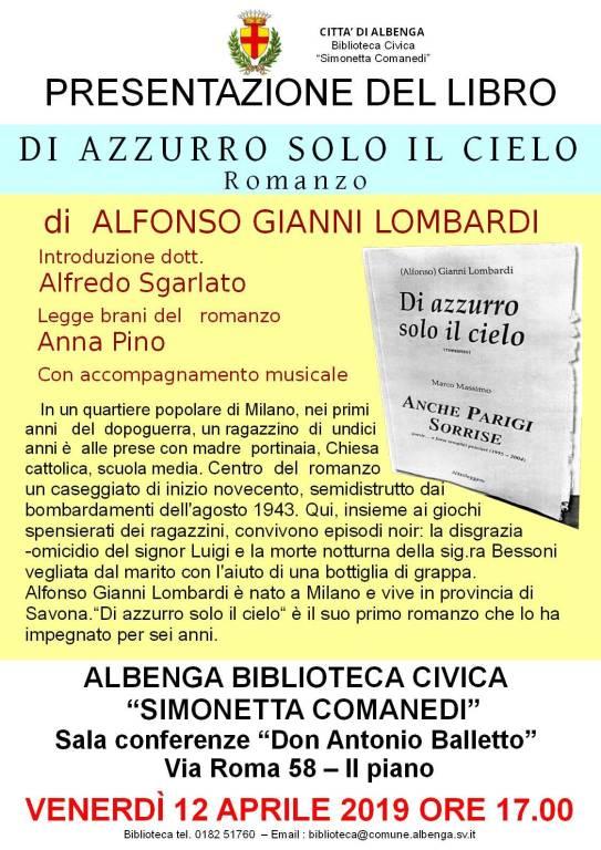 """""""Di azzurro solo il cielo"""" romanzo Alfonso Gianni Lombardi"""
