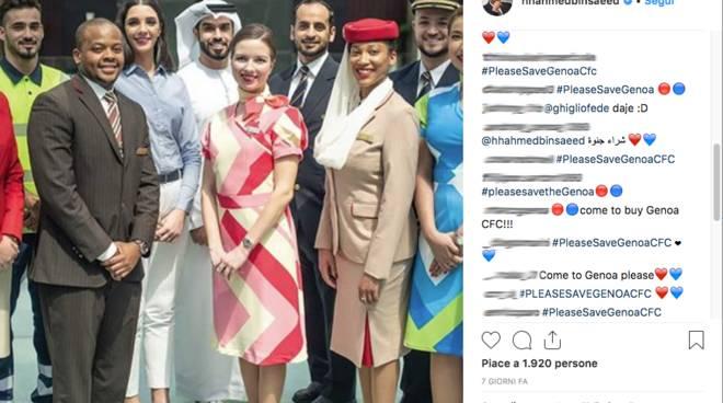 social bombing allo sceicco di Emirates pro Genoa
