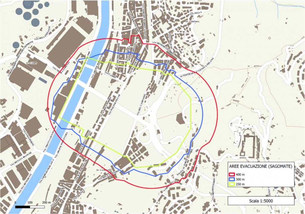 area evacuazione demolizione pile 10 e 11 ponte morandi