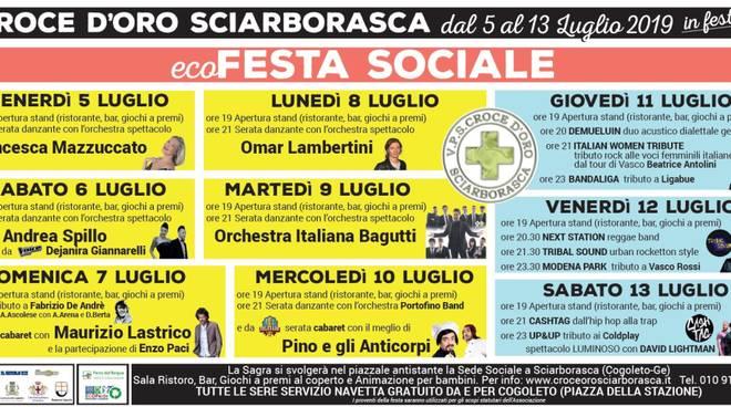 Ecofesta Sociale 2019: la grande sagra organizzata dalla Croce d\'Oro di Sciarborasca!