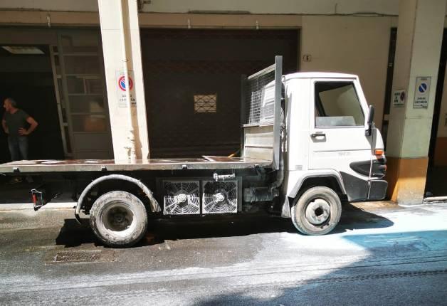 Incendio camion Albenga