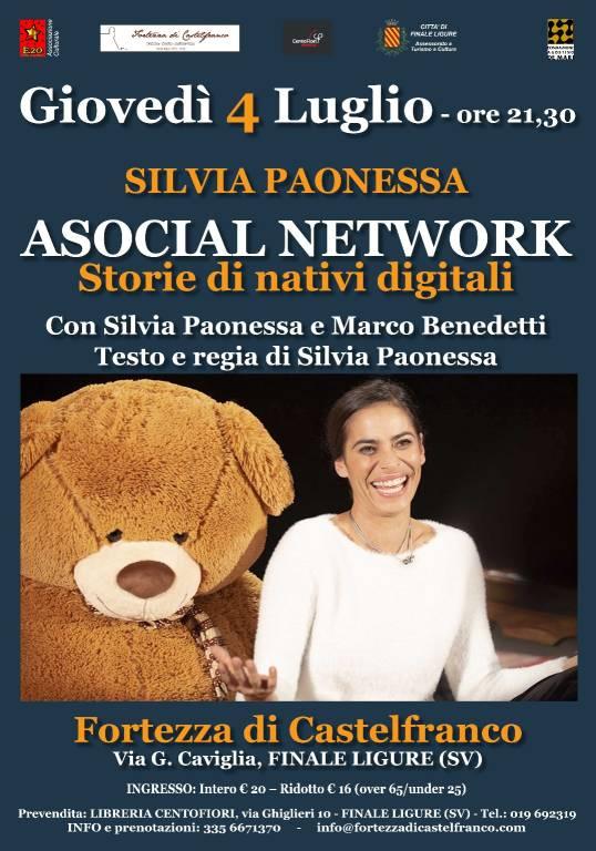 """""""Asocial Network - Storie di nativi digitali"""" spettacolo Silvia Paonessa"""