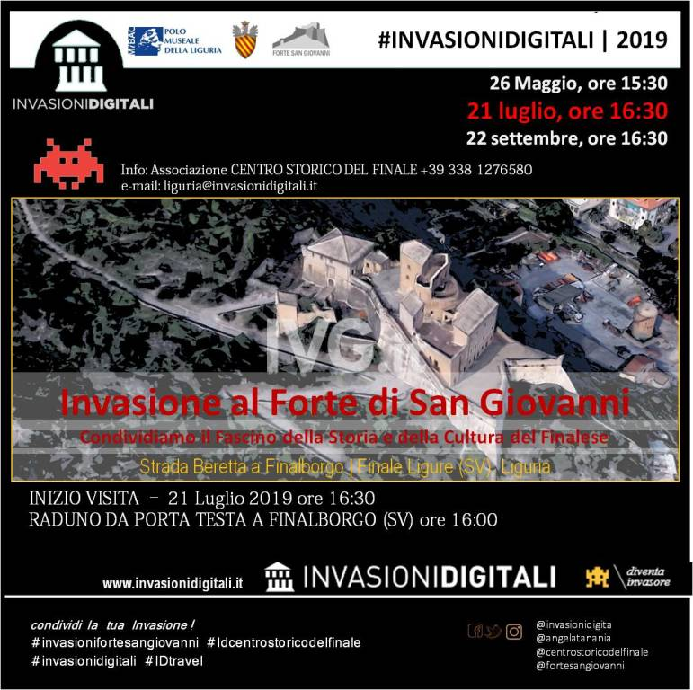 """21 luglio 2019 #invasionidigitali Forte San Giovanni a Finalborgo (SV) visita guidata gratuita condotta da """"piccoli invasori"""""""