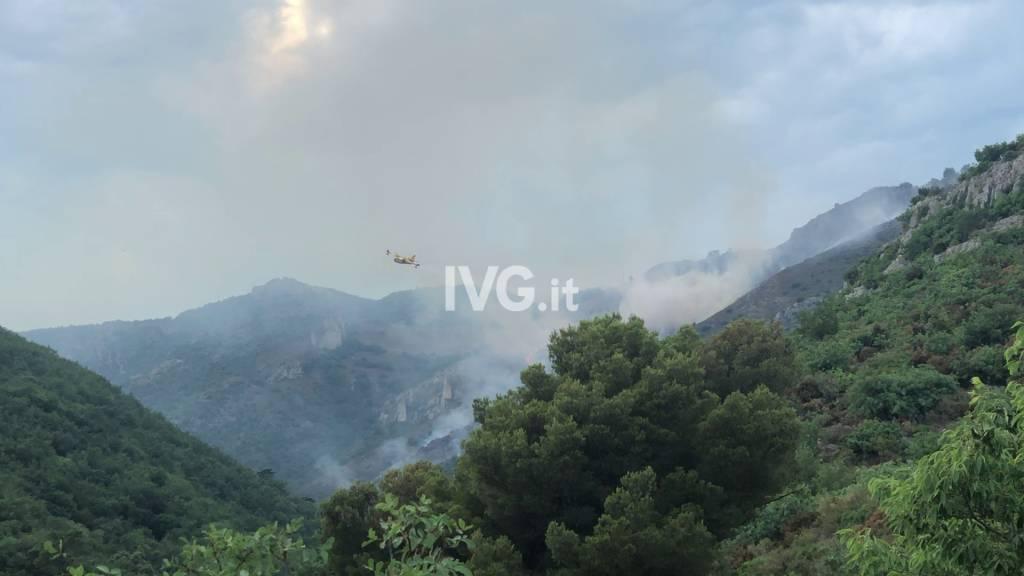 Incendio boschivo a Peagna