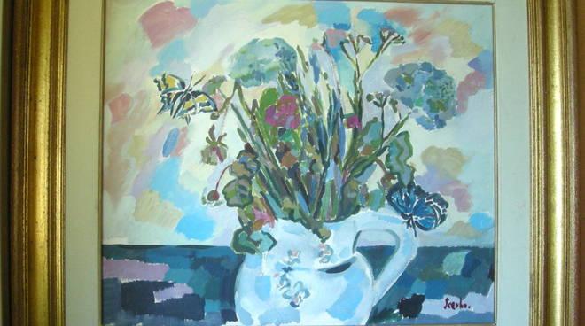 """""""Fiori e farfalle"""" olio su tela Mariarosa Scerbo"""