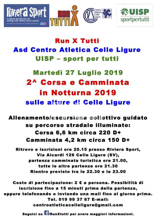 2^ Corsa e Camminata in Notturna sulle alture di Celle Ligure