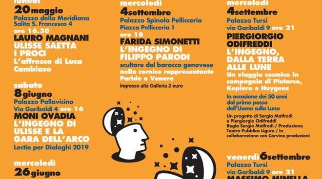 Venerdì 6 Settembre alle 21 a Palazzo Tursi gran finale della 12esima edizione 'Dialoghi sulla rappresentazione/L'ingegno 2019: Massimo Minella dialoga con Giuseppe Zampini
