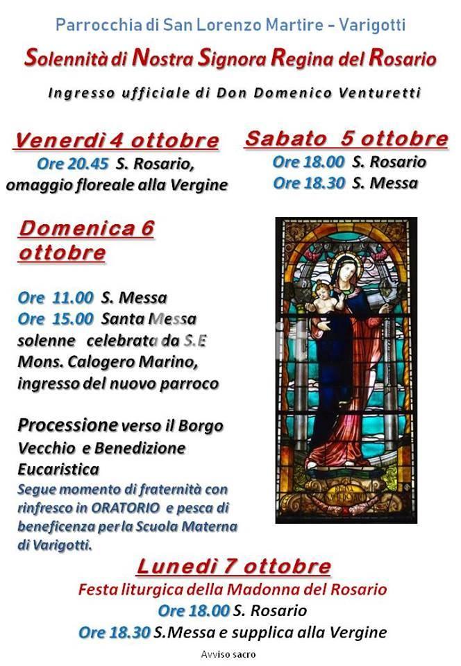 Varigotti : Festa della Madonna Del Rosario e Ingresso del nuovo Parroco