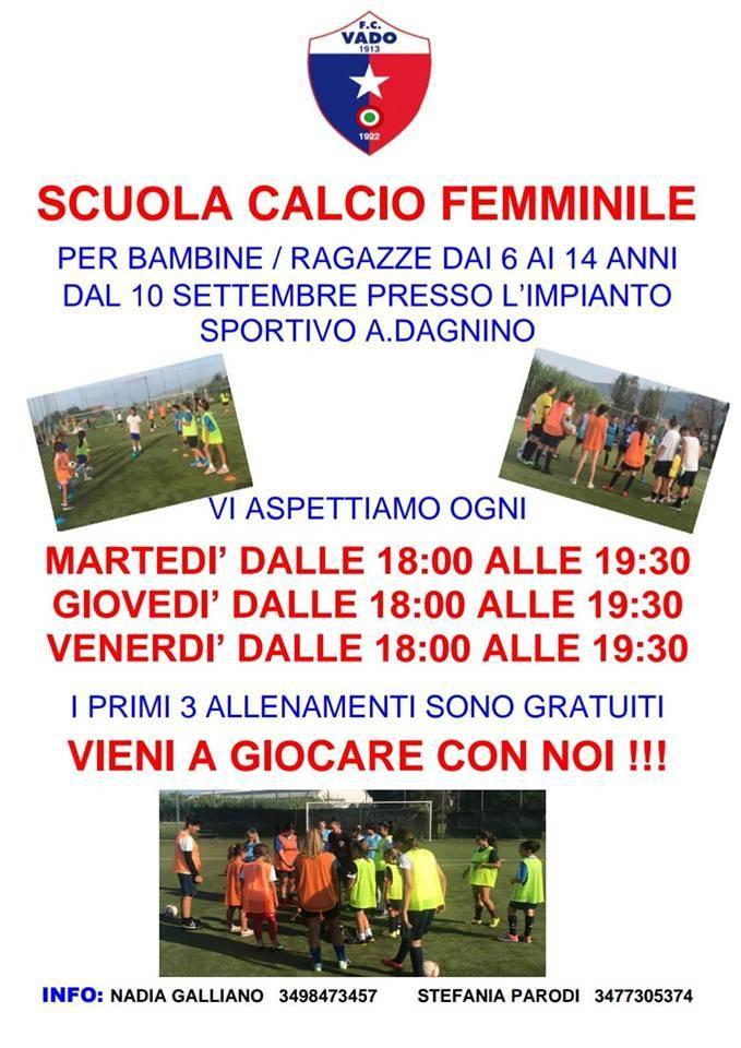 scuola calcio femminile del Vado FC