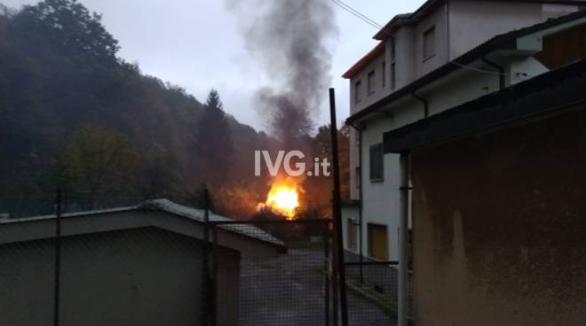Incendio a Ferrania - Cairo Montenotte (SV)