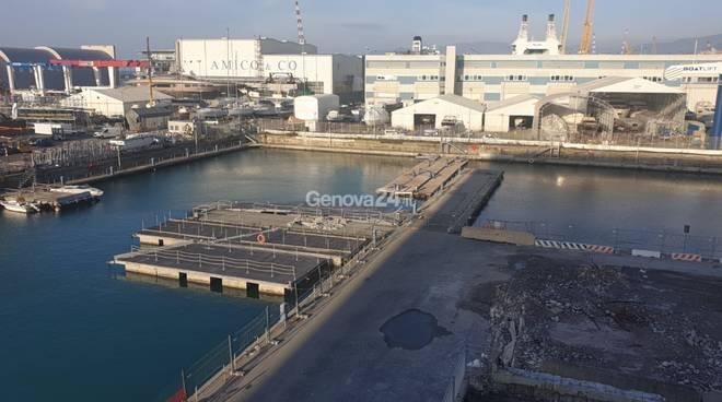 Lavori canale navigabile waterfront di Levante