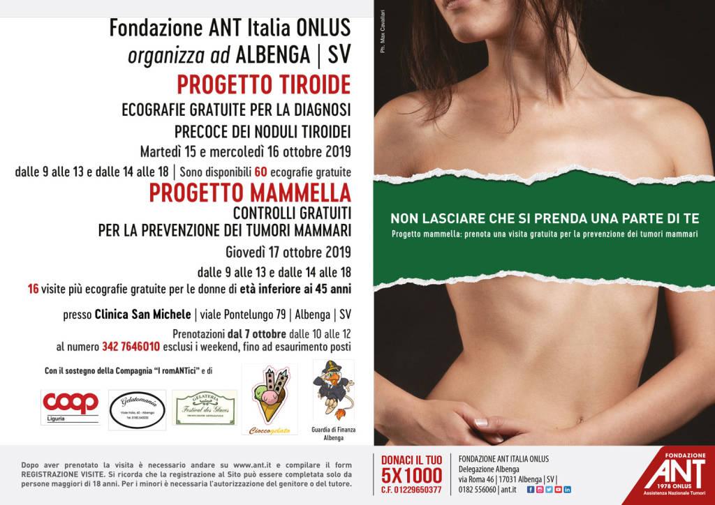 """Prevenzione oncologica: ad Albenga visite gratuite con la """"Fondazione ANT"""""""