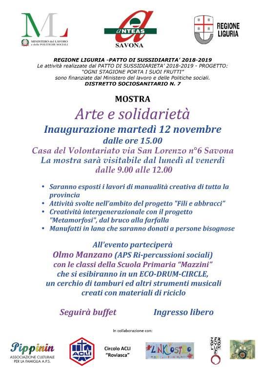 """""""Arte e solidarietà"""" mostra Savona Casa del Volontariato"""