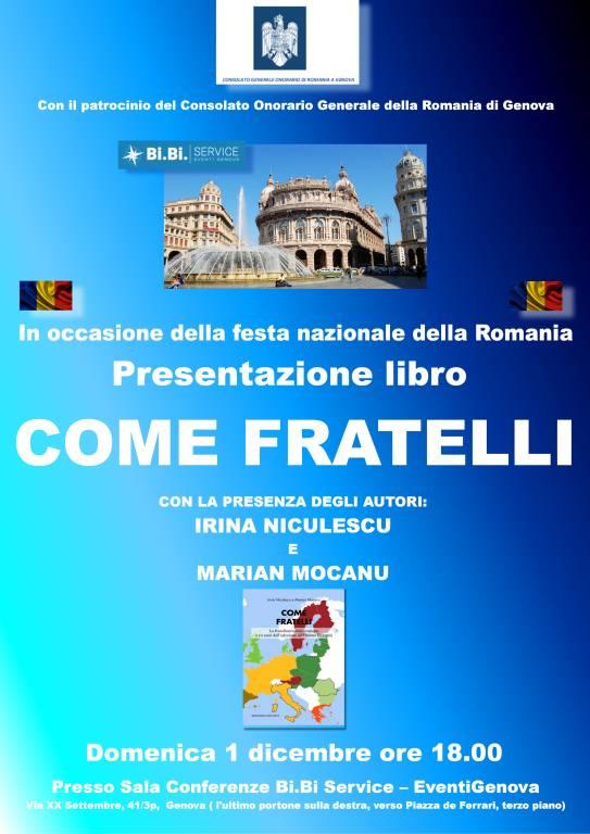 """Presentazione del libro """"Come Fratelli"""" in occasione della Festa Nazionale della Romania a Genova, il 1 dicembre"""