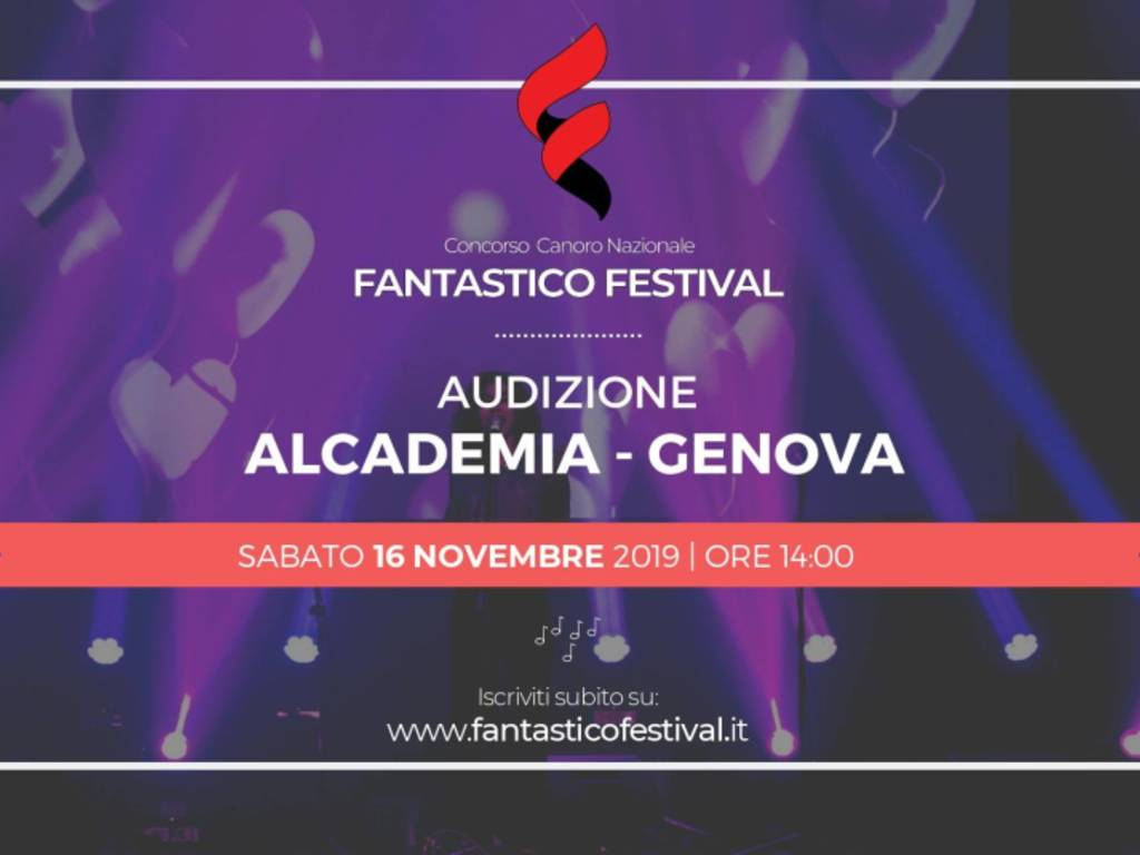 """Prima audizione per il concorso musicale \""""Fantastico Festival\"""" all\'Alcademia di Genova"""