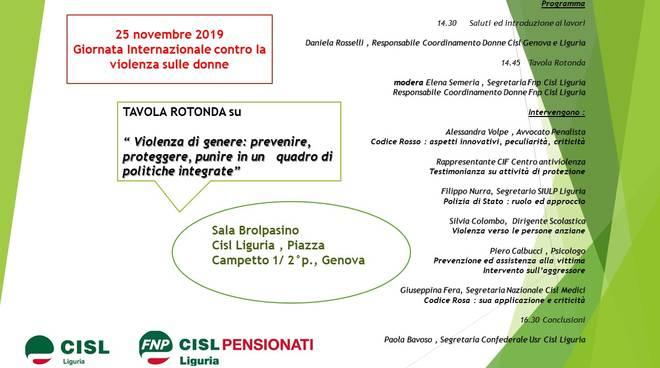 """Lunedì 25 novembre in occasione Giornata Internazionale contro la violenza sulle donne, la Cisl Liguria e la Fnp Cisl Liguria hanno organizzato una tavola rotonda intitolata """"Violenza di genere: prevenire, proteggere, punire in un quadro di politiche i"""