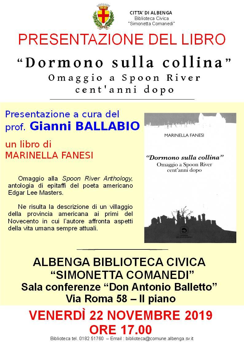 """""""Dormono sulla collina"""" libro Gianni Ballabio Albenga"""