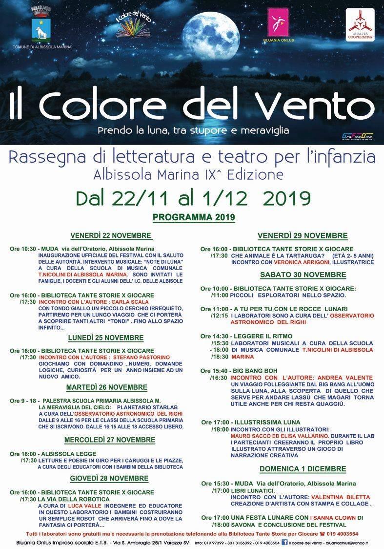 """""""Il Colore del Vento"""" letteratura e teatro bambini Albissola Marina 2019"""