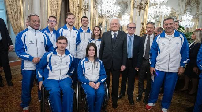 L'Italia del nuoto paralimpico da MattarelIa: