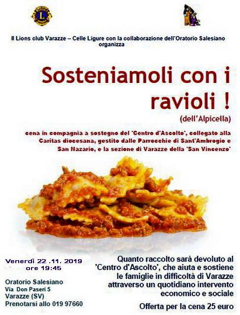 """""""Sosteniamoli con i ravioli dell'Alpicella"""" cena Caritas Varazze"""