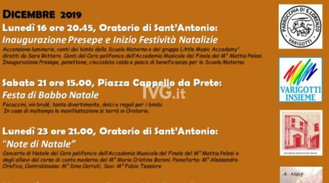 Inaugurazione del Presepe dei Giovani di Varigotti e inizio festività natalizie