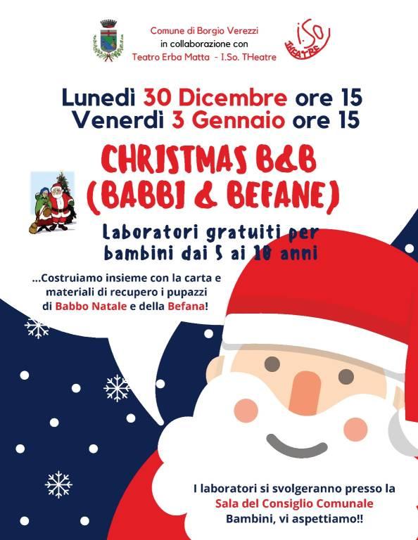 """Christmas B&B (Babbi&Befane)"" laboratori per bambini Borgio Verezzi"