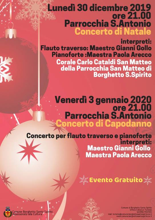 Concerti Natale 2019 Borghetto Santo Spirito Santuario Sant'Antonio