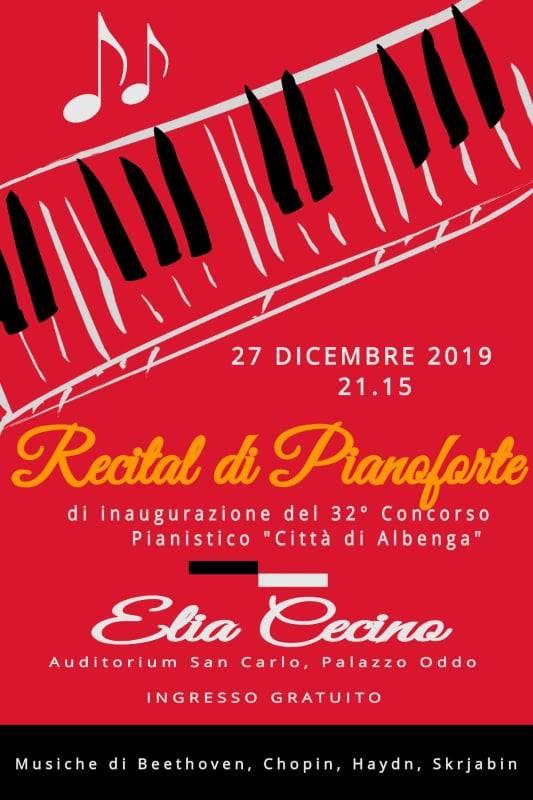 """Concorso Pianistico """"Città di Albenga"""" 2019 concerto Elia Cecino"""