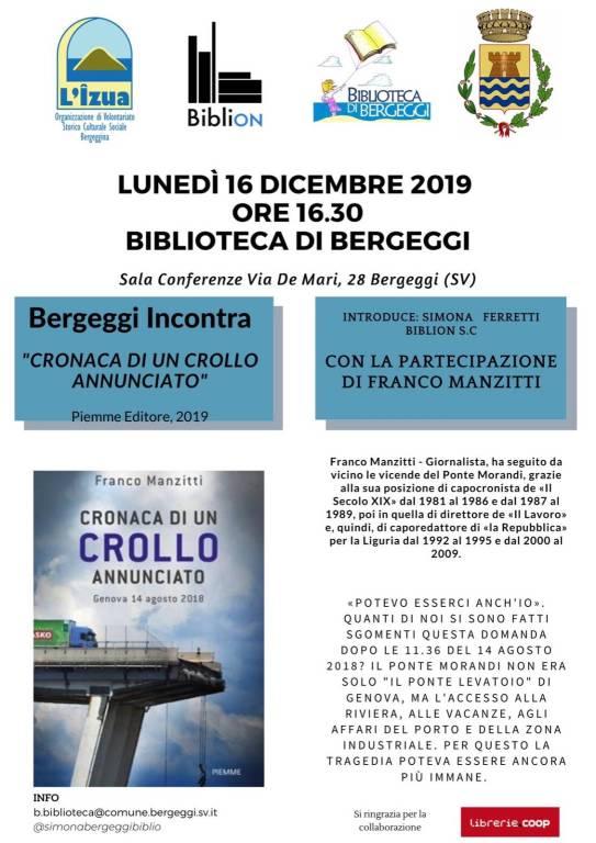 """""""Cronaca di un crollo. Genova 14 agosto 2018"""" libro Franco Manzitti Bergeggi"""