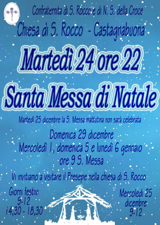 Natale 2019 Varazze frazione Castagnabuona orari Messe