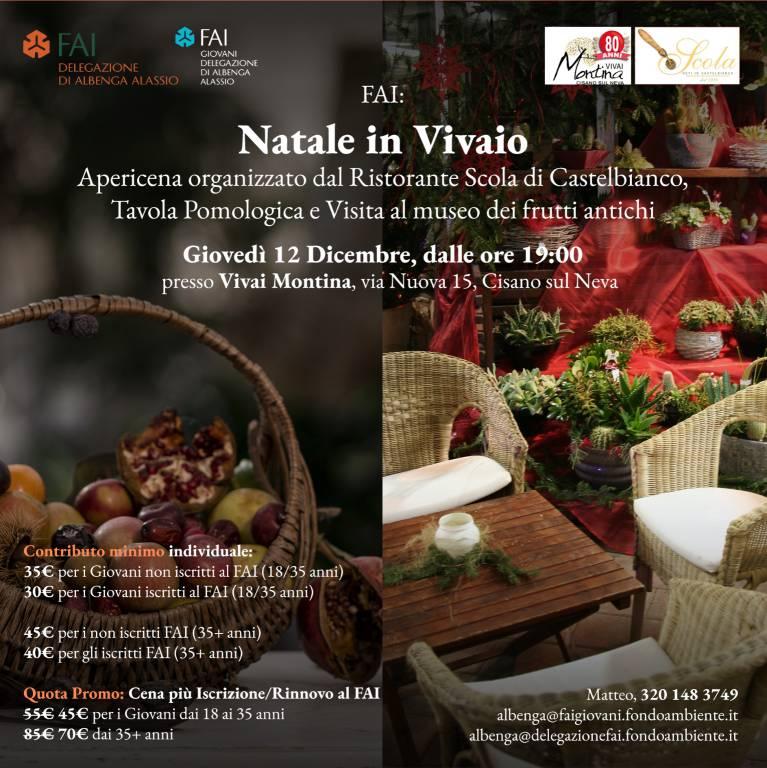 """""""Natale in Vivaio"""" cena Natale FAI Cisano sul Neva"""