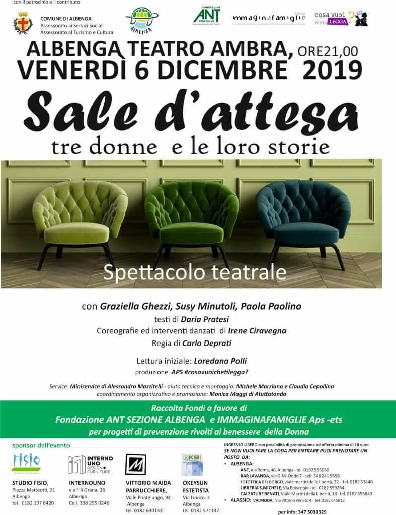 """""""Sale d'attesa"""" spettacolo Teatro Ambra Albenga dicembre 2019"""