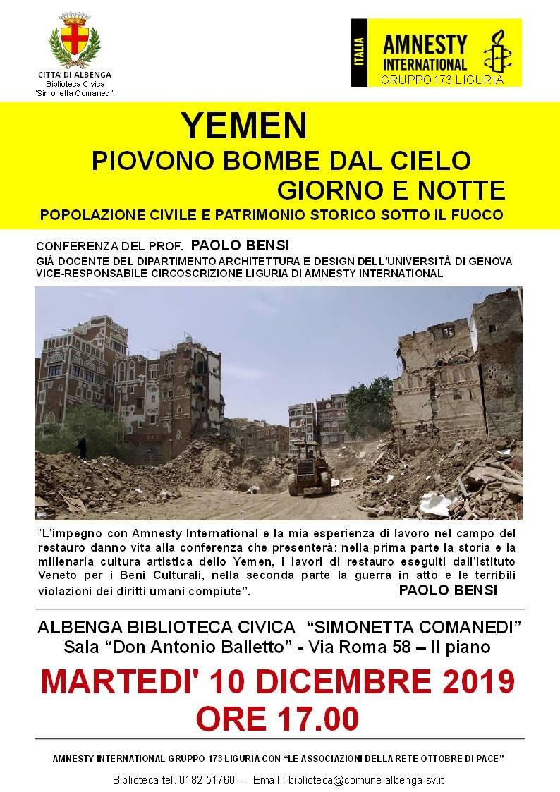 """""""Yemen: piovono bombe dal cielo giorno e notte"""" conferenza Paolo Bensi Amnesty Albenga"""