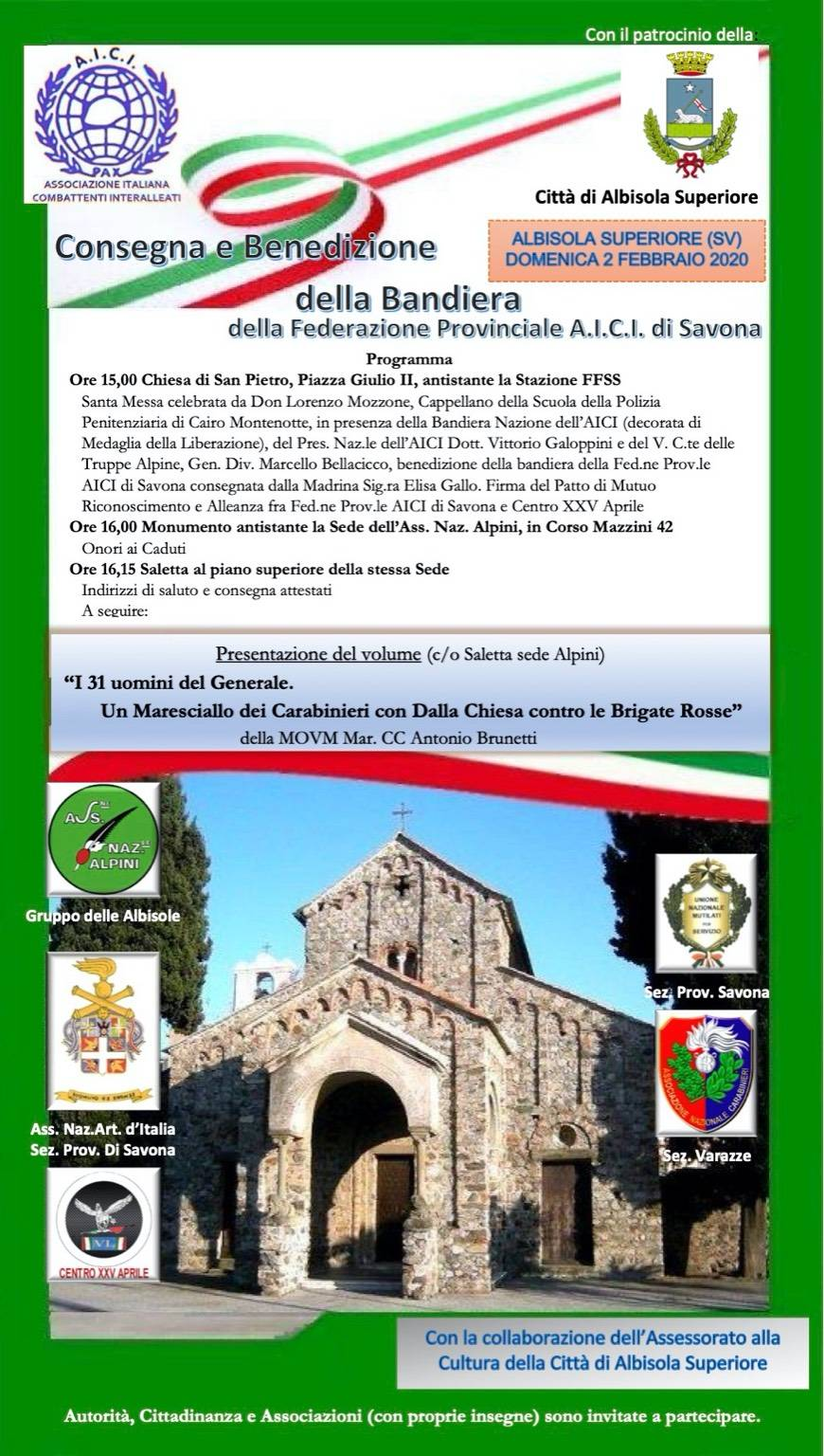 AICI Savona consegna e benedizione bandiera Albisola Superiore