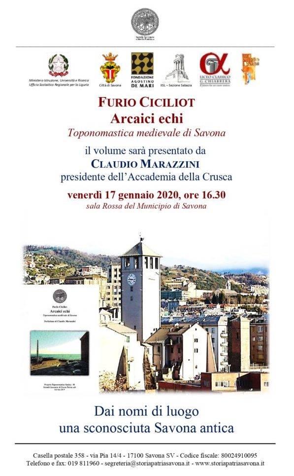 """""""Arcaici echi"""" libro Furio Ciciliot Savona"""