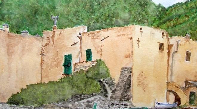 """Borgo ligure marinaro"" acquerello Mauro Pompilio"