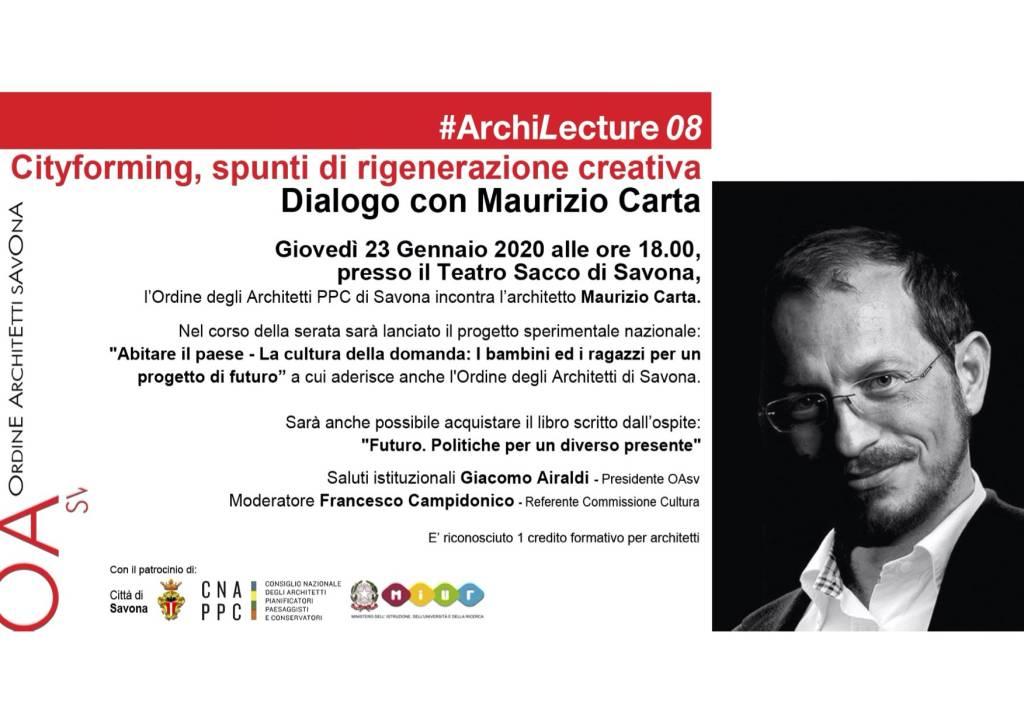 """Cityforming"" incontro urbanista Maurizio Carta Savona"