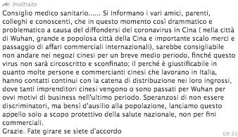 fake news cinesi bufala coronavirus