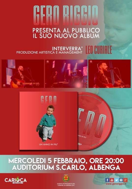 """""""Un anno in più"""" album cantante Gero Riggio Albenga"""