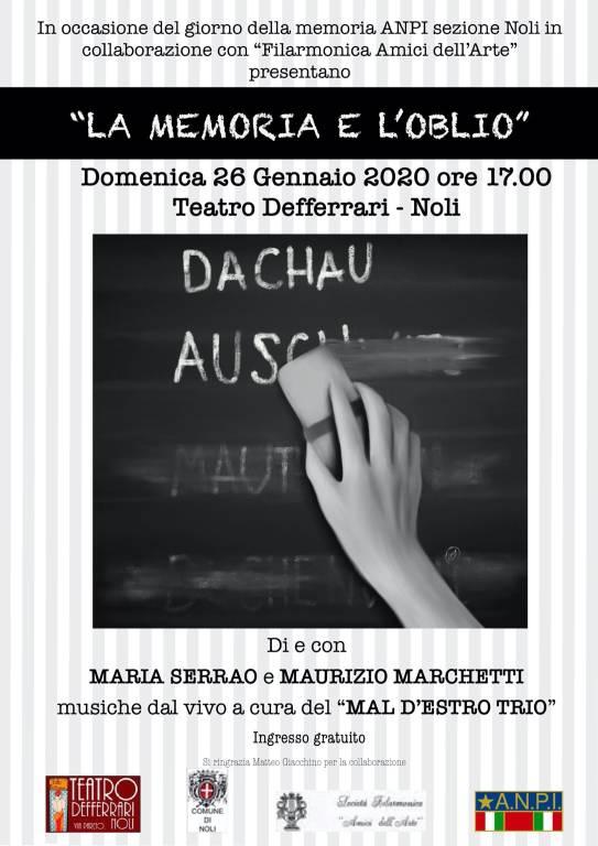 """""""La memoria e l'oblio"""" spettacolo Noli Teatro Defferrari"""