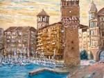 """""""La Torre Pancaldo e il porto di Savona"""" olio su tela Valter Allemani"""