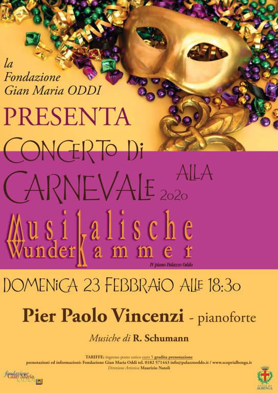 Concerto di Carnevale 2020 Albenga Palazzo Oddo Pier Paolo Vincenzi
