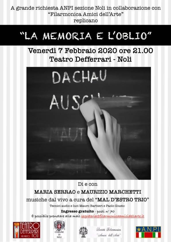 """""""La memoria e l'oblio"""" replica spettacolo Noli Teatro Defferrari"""